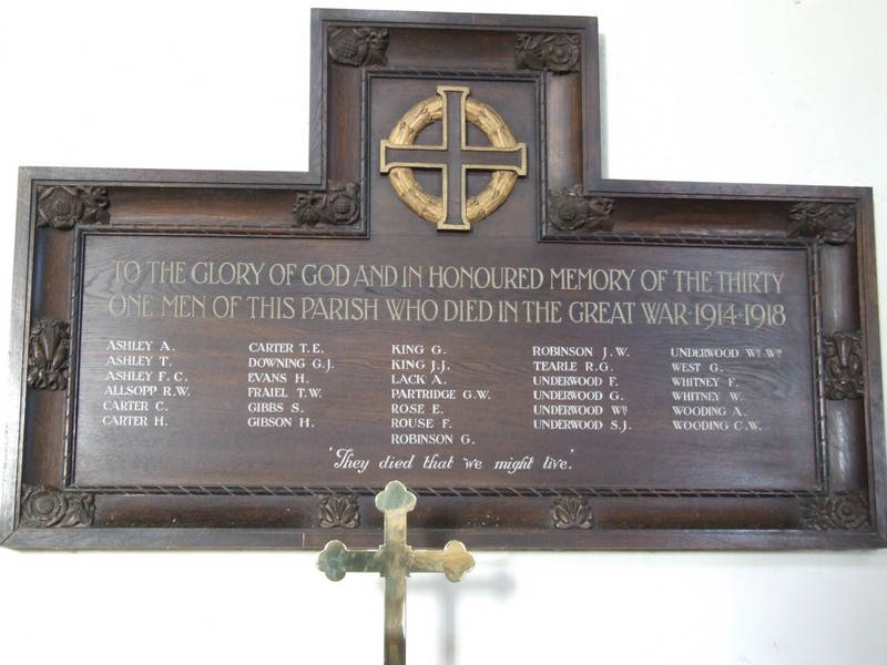 WW1 memorial inside St Andrews Church.