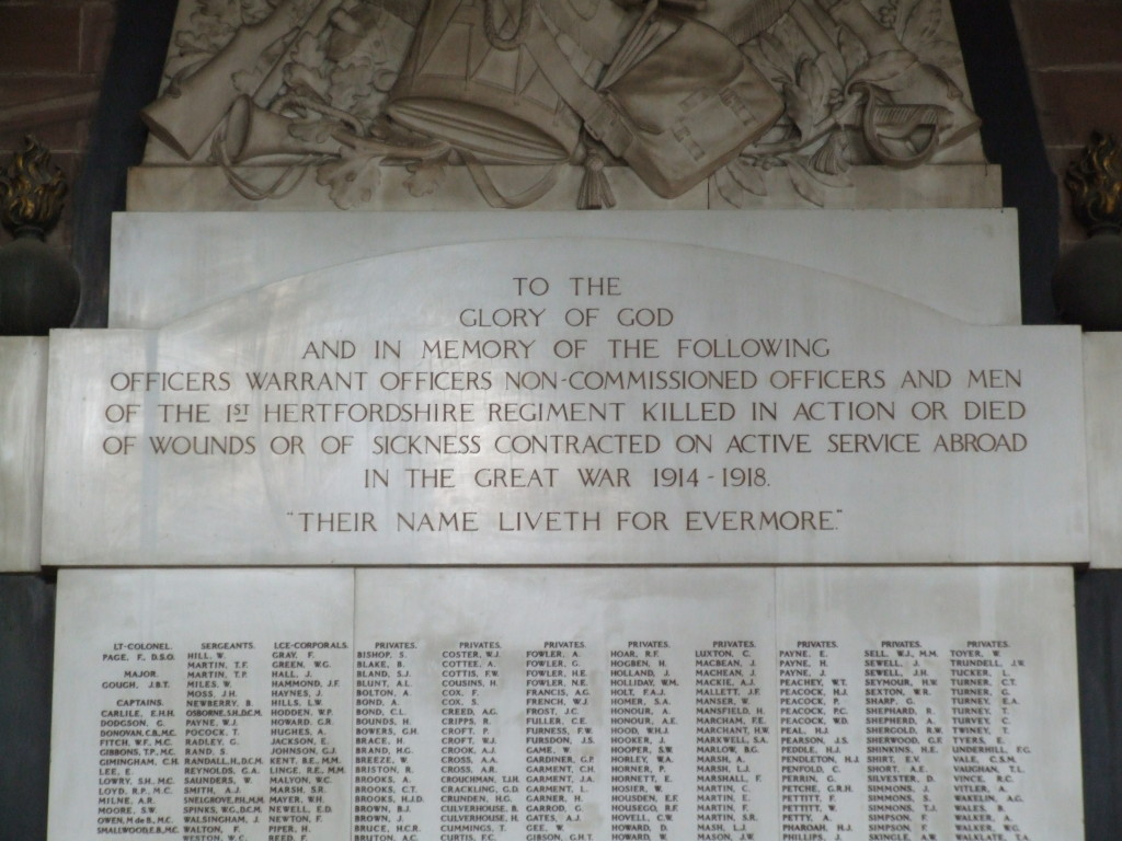 War Memorial header, All Saints Hertford.