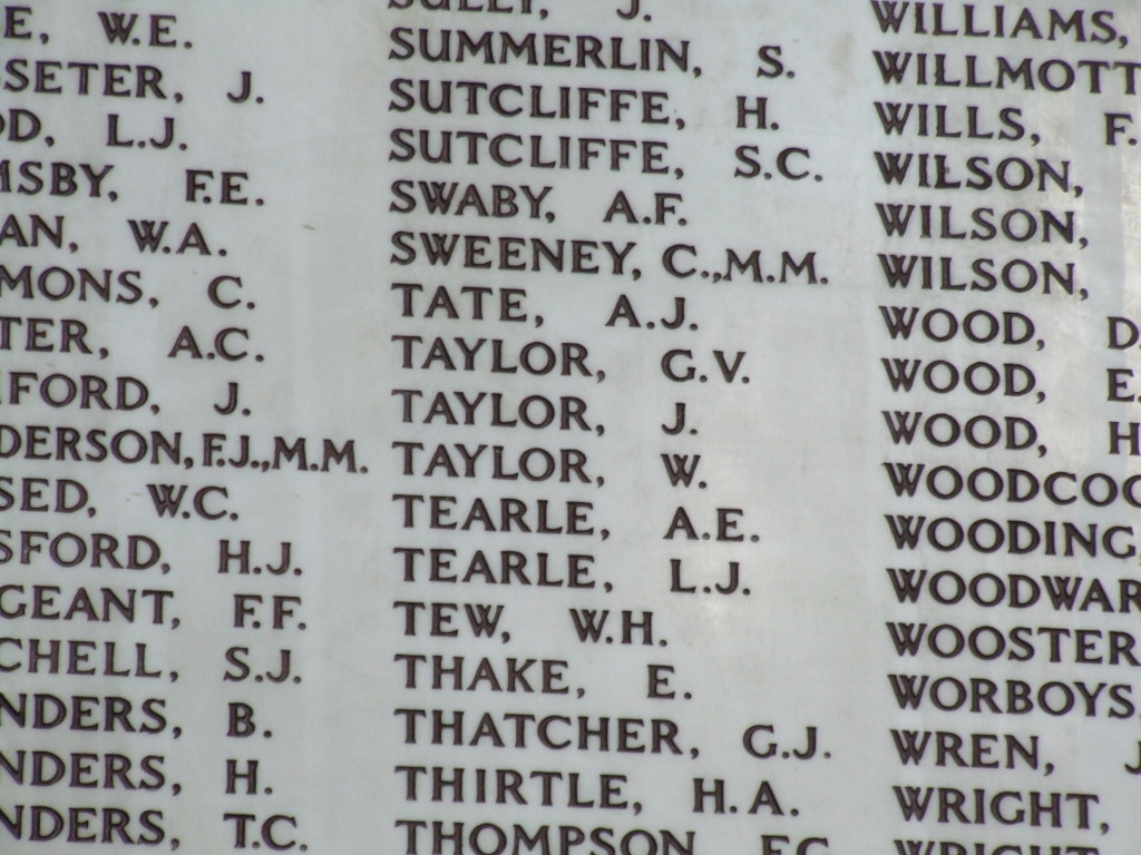 WW1 memorial names EA Tearle LJ Tearle All Saints Hertford