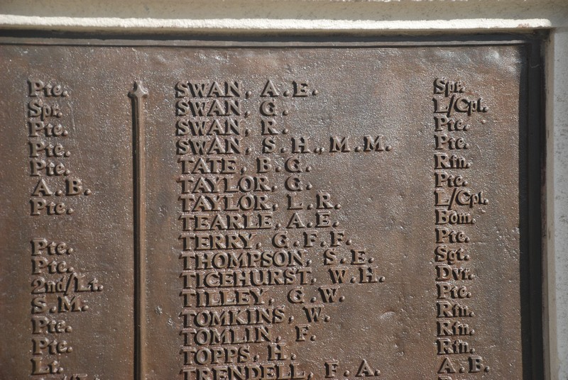 Bom Albert Earnest Tearle on Sutton War Memorial closeup