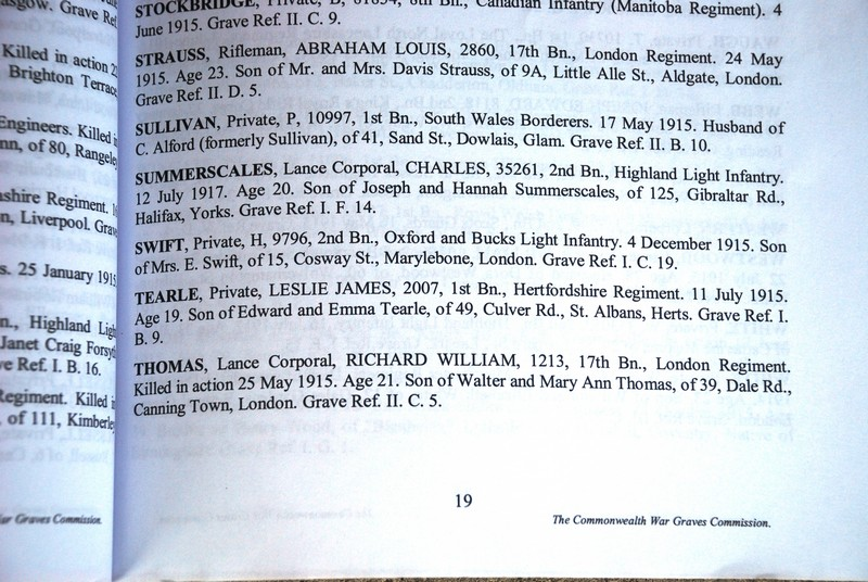 Leslie James Tearle in the Book of Remembrance; Woburn Abbey Cemetery, Cuinchy