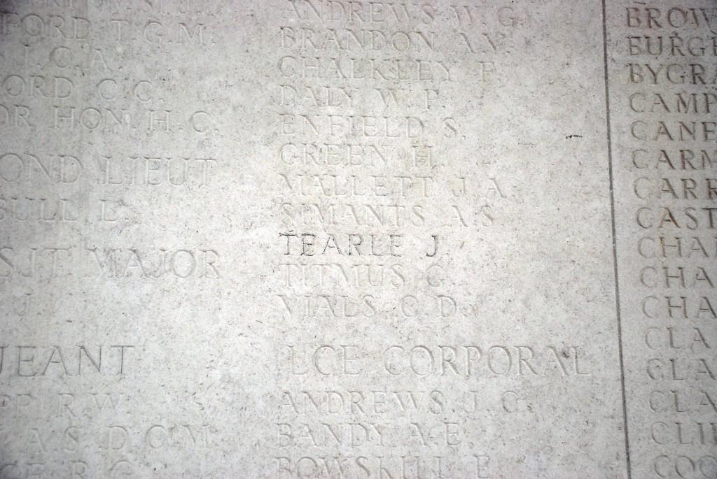 Corporal Jeffrey Tearle Bedfordshire Rgt Le Touret Memorial