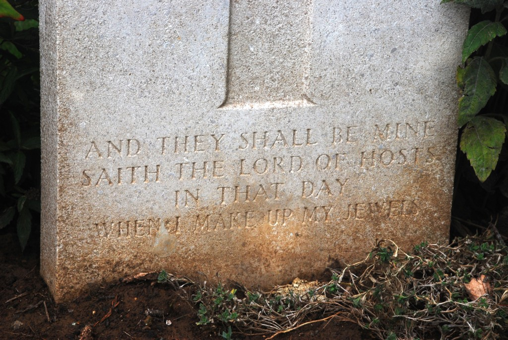 Inscription at base of headstone for LSgt Sydney Thomas Tearle Nine Elms Cemetery
