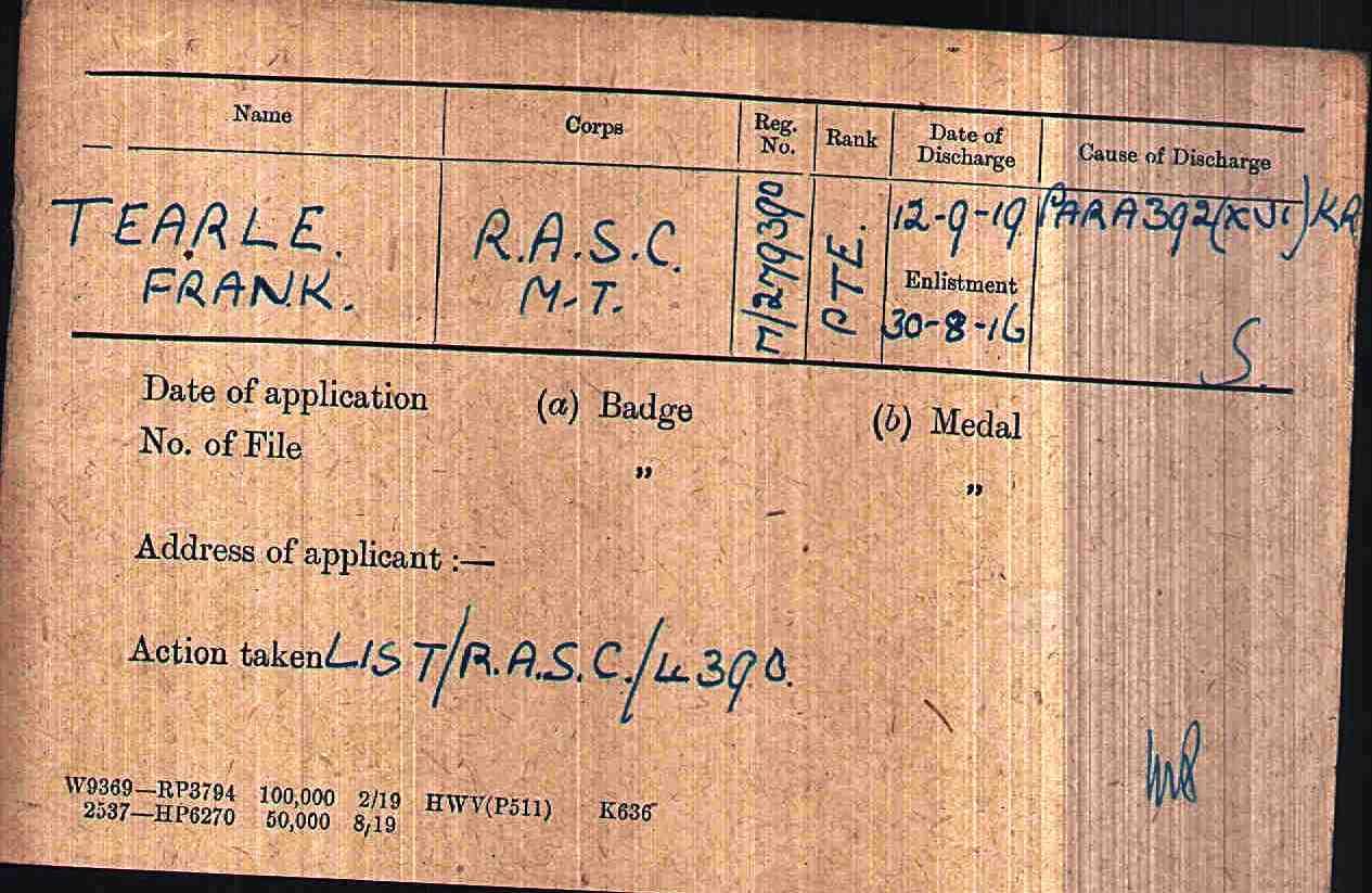 Frank Tearle M279390 WW1 army medal rolls