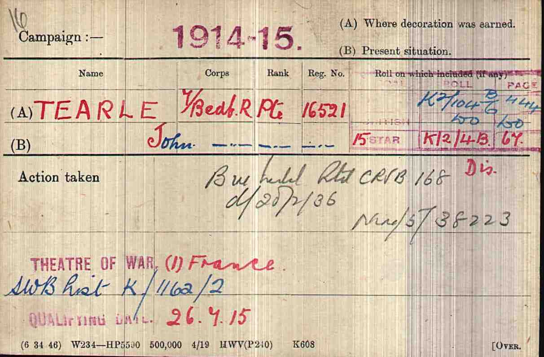 John Tearle 16521 WW1 army medal rolls