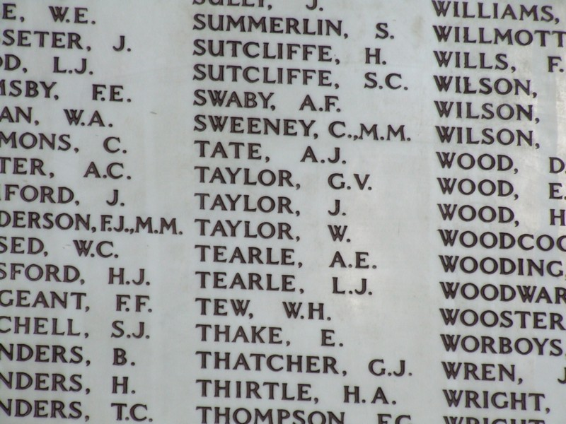 Leslie and Alfred Tearle on the Hertford War Memorial.