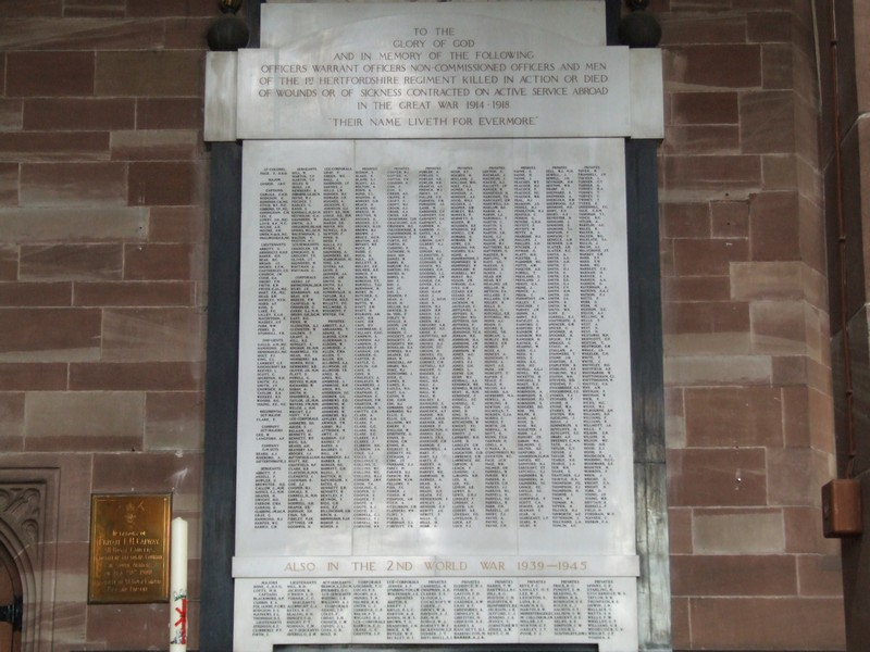 Leslie is also remembered on the Roll of Honour in All Saints Church, Hertford.