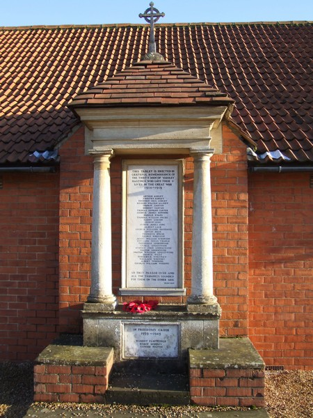 War Memorial on hall, Yardley Hastings.