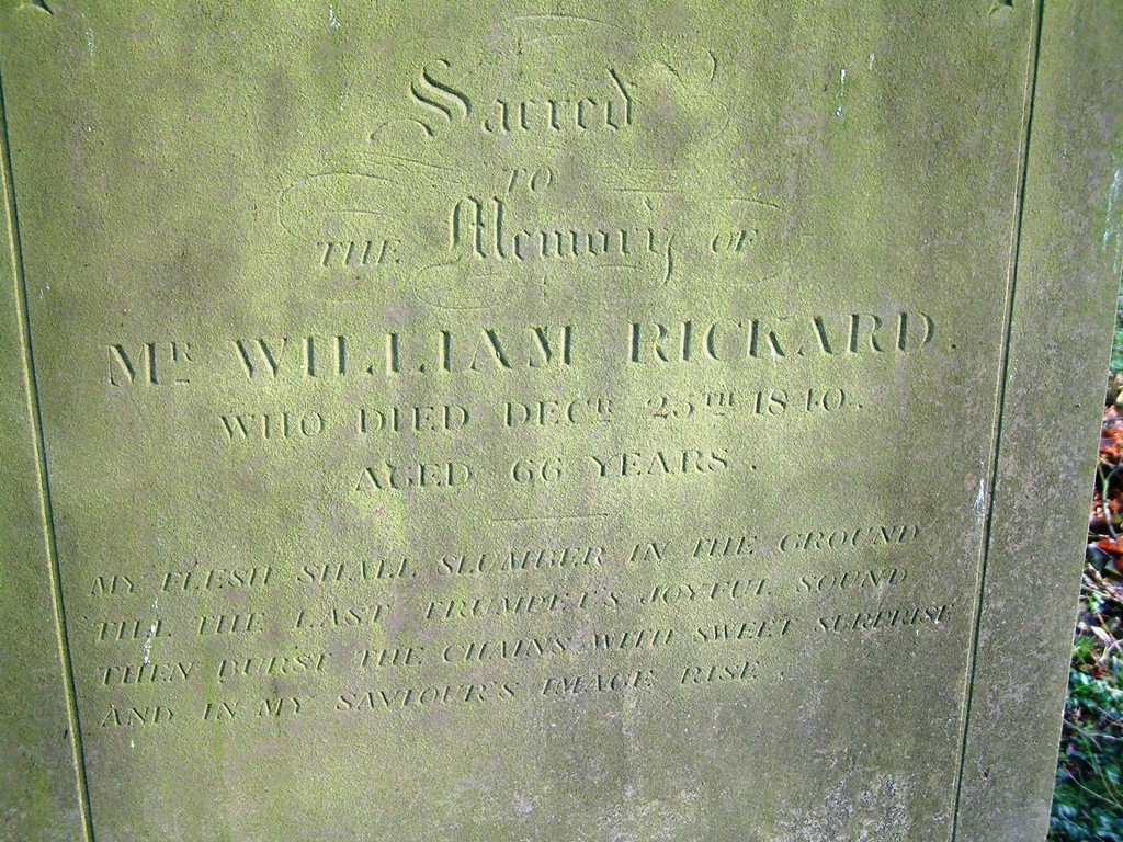 The headstone of William Rickard