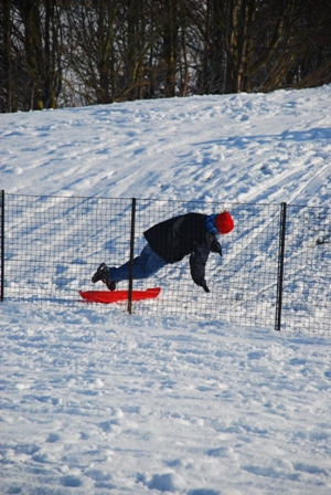 Snow boarder in Jersey Farm