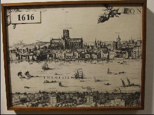 Drawing of London found in St Bride's, Fleet St