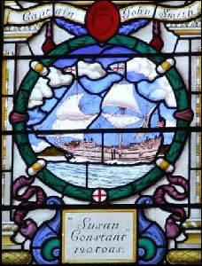 """Susan Constant"" stained glass window in St Sepulcre Church."