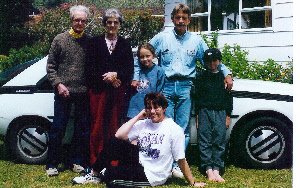 Frank, Tia, my brother Graeme and his children, with Elaine sitting. Pauanui, Christmas 1994.