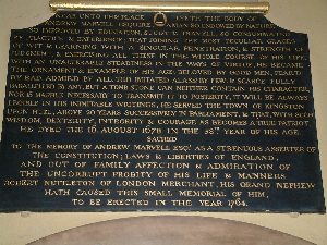Memorial to Andrew Marvel
