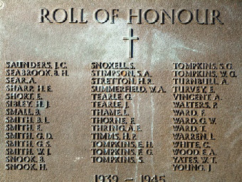 Panel of WW1 casualties on Dunstable Church