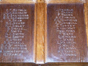 Closeup of Roll of Honour inside Dunstable Priory Church