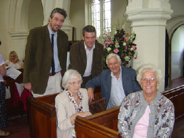 John Tearle in the centre, brother to Sheila, while James and Sam are his sons. Jennie Pugh, centre, is their aunt, a grand-daughter to Levi Tearle, blacksmith of Wing.