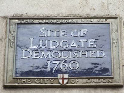 Site of Ludgate demolished 1760
