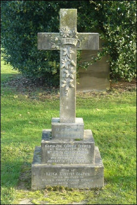 Caroline's grave in Toddington Cemetery together with Leila Evelyn, daughter of William Smith Cowper Cooper.