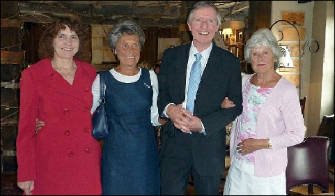 Elaine Tearle, Maureen Rigby, Ewart, and Janette Harrison leaving the 5 Bells after lunch. Photo courtesy Pat Field