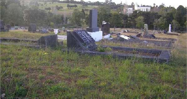 The unmarked grave in Waikumete Cemetery, Auckland, of Elizabeth Cecil nee Peadon, Egerton Burleigh's mother, is in the very foreground of this photo.