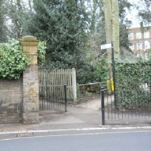 Entrance to the Hillcrest Estate in Southwood Lane. Park House Passage is on the left and leads to North Hill and the Wrestlers Public House.