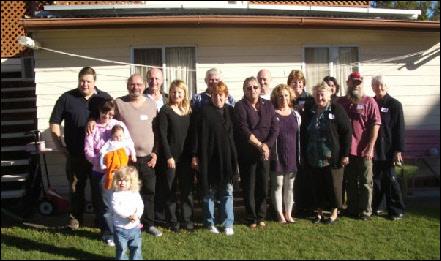 A group shot: Jamie, Samantha, Alfie, Molly, Richard, Douglas, Teresa, Ron and Norma, Noreen, Richard and Patsy, Deborah wife of Douglas, Denice, Maggie ptly obsc and Kevin, Bev Floyd