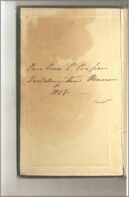 Still in existence is a cookery book signed on the front page by Caroline – that its recipes are for foreign food suggests that it may have been given to her by her sister, Elizabeth. It is dated 1848 in her hand.