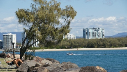 Relaxing on the Gold Coast - there's a hamper full of tinnies in the sea