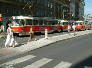 Prague trams on the way to town