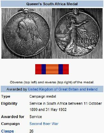 The Queen's South Africa Medal, detail