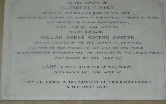 Memorial to the Cooper Cooper family in Toddington Church