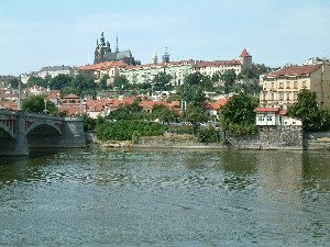 Manesuv Bridge with Prague Castle behind.