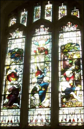 "The South Window - ""Faith Hope and Charity"" donated by Caroline Cooper Cooper in memory of her parents"