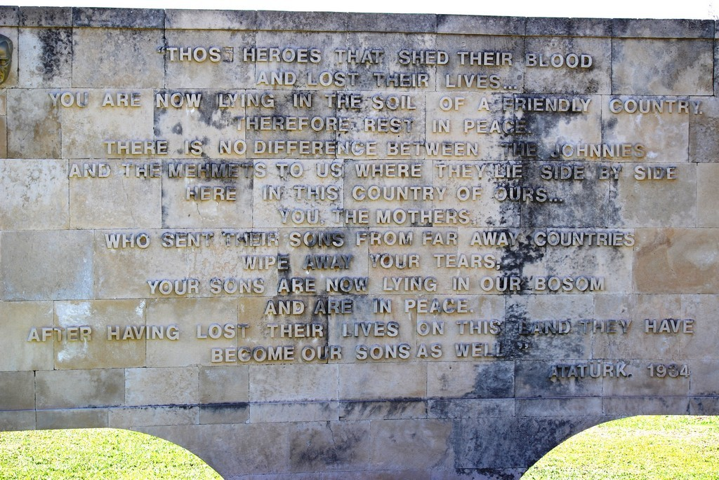 Ataturk's message at ANZAC Cove.