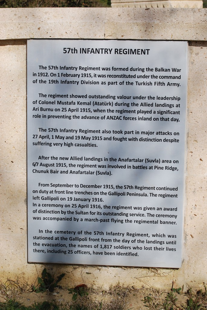 The plaque detailing the acts of the 57th Infantry.