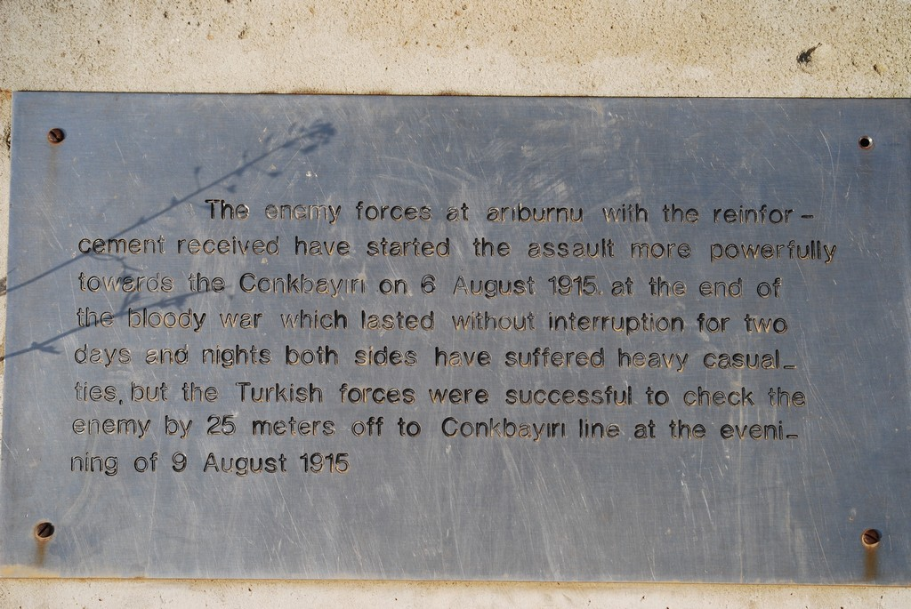 The plaque with the translation of 6 Aug 1915 assault.