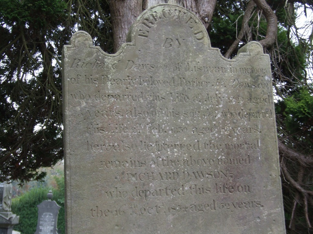 Richard Dawson headstone in Magheragall Parish Church