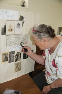 Deborah Meanley examines the Soulbury Tearle exhibit.