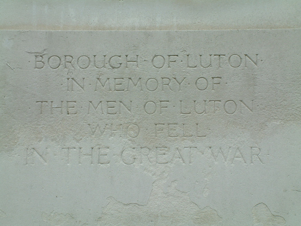 WW1 inscription Luton