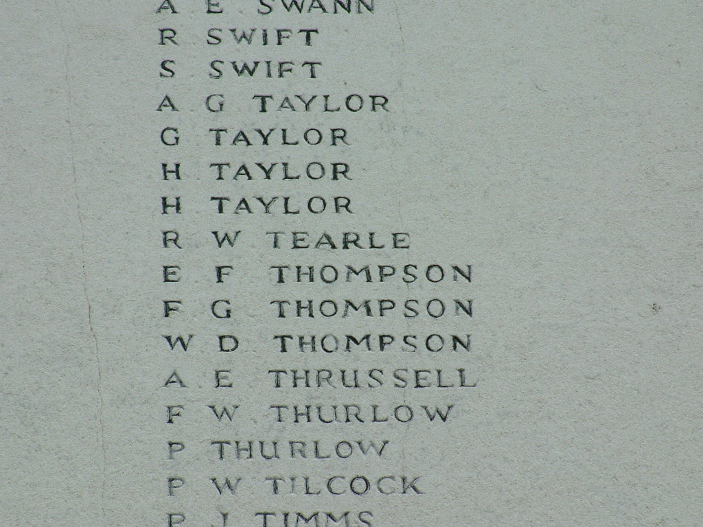 WW1 War Memorial Luton Gunner Field Artillery RW Tearle 4 Oct 1917