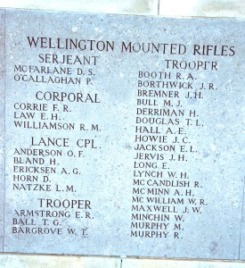 Wellington Mounted Rifles names on Chunuk Bair
