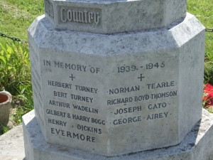 Norman Tearle on war memorial Soulbury