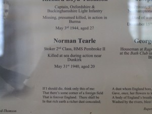 Norman Tearle on honours board All Saints Soulbury
