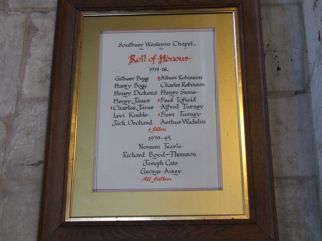 Norman Tearle on Roll of Honour Soulbury Wesleyan Chapel