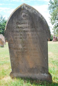 Headstone of Caroline and Charles Shillingford in Stanbridge Church.