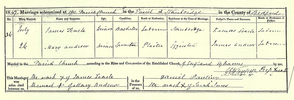James 1827 my gg-grandfather marries Mary Andrews in 1847
