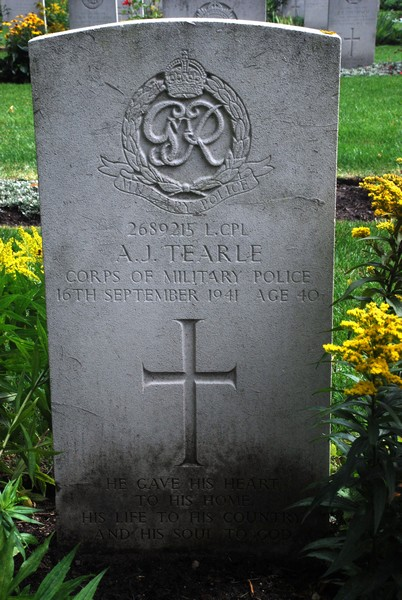 Malbork Commonwealth War Cemetery headstone of A J Tearle