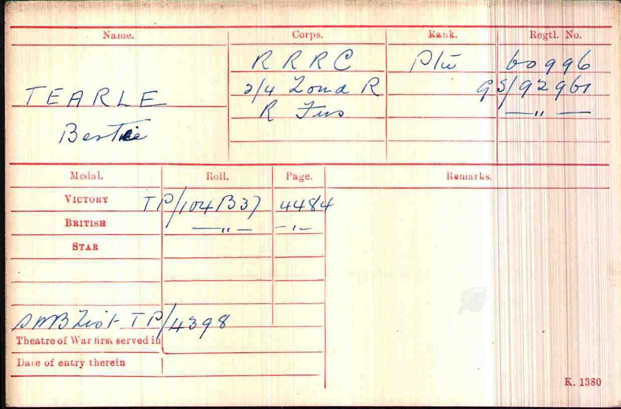 Bertie Tearle 60996, GS92961, GS92961 WW1 army medal rolls