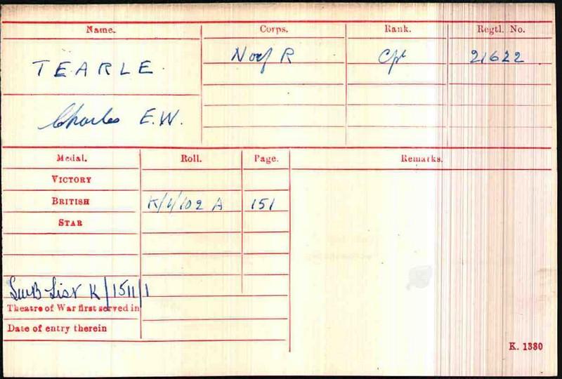 Charles E W Tearle 21622 WW1 army medal rolls